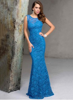 Sheath/Column Scoop Neck Floor-Length Lace Evening Dress With Appliques Lace