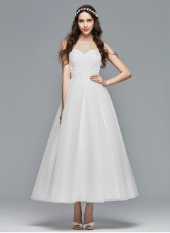 Ball-Gown Strapless Sweetheart Ankle-Length Tulle Wedding Dress With Ruffle Lace Beading