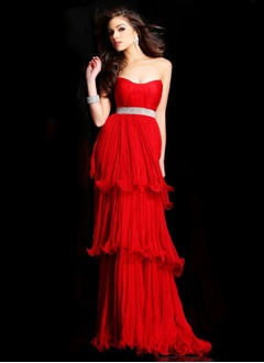 Empire Sweetheart Sweep Train Tulle Evening Dress With Ruffle  ...