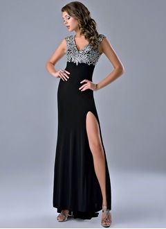 Sheath/Column V-neck Sweep Train Jersey Prom Dress With Beading Split Front