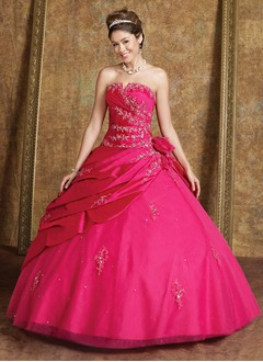 Ball-Gown Strapless Floor-Length Taffeta Tulle Quinceanera Dress With Beading Flower(s)