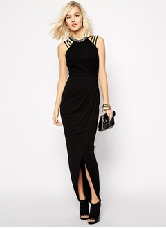 Sheath/Column Scoop Neck Floor-Length Chiffon Evening Dress With Ruffle Beading Split Front