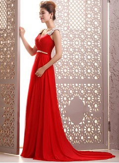 A-Line/Princess Scoop Neck Court Train Chiffon Evening Dress With Beading