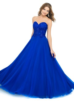 Ball-Gown Strapless Sweetheart Floor-Length Chiffon Prom Dress With Lace Sequins
