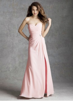 A-Line/Princess Strapless Sweetheart Floor-Length Chiffon Bridesmaid Dress With Ruffle Beading Split Front