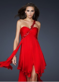 Empire One-Shoulder Asymmetrical Chiffon Evening Dress With Ruffle Appliques Lace Cascading Ruffles