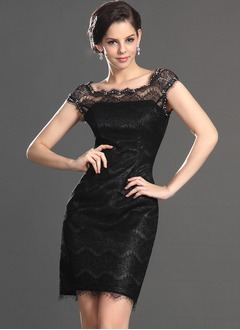 Sheath/Column Square Neckline Short/Mini Lace Cocktail Dress With Beading