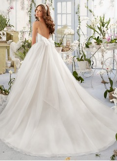 Ball-Gown Sweetheart Chapel Train Tulle Wedding Dress With Ruffle Beading Bow(s)
