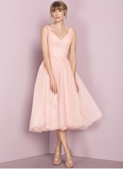 A-Line/Princess V-neck Tea-Length Tulle Bridesmaid Dress With Ruffle (0075138146)