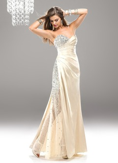 A-Line/Princess Strapless Sweetheart Floor-Length Tulle Charmeuse Sequined Evening Dress With Ruffle Beading Sequins