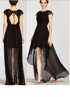 A-Line/Princess Scoop Neck Asymmetrical Chiffon Charmeuse Homecoming Dress