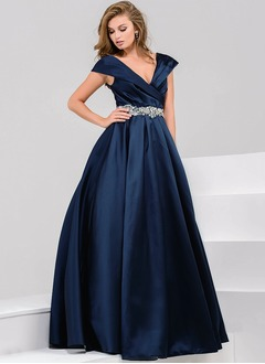 A-Line/Princess V-neck Floor-Length Satin Evening Dress With Beading
