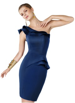Sheath/Column One-Shoulder Knee-Length Satin Cocktail Dress With Cascading Ruffles