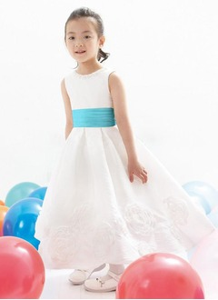 A-Line/Princess Scoop Neck Ankle-Length Taffeta Flower Girl Dress With Sash Beading