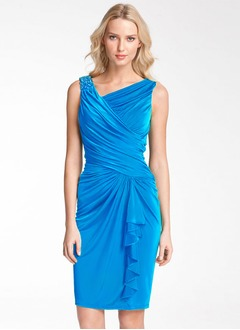 Sheath/Column V-neck Knee-Length Jersey Cocktail Dress With Ruffle Beading