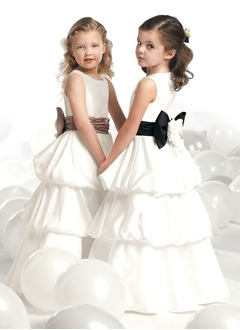 A-Line/Princess Scoop Neck Floor-Length Satin Flower Girl Dress With Ruffle Sash Bow(s)