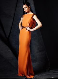 Sheath/Column Scoop Neck Sweep Train Chiffon Evening Dress With Beading