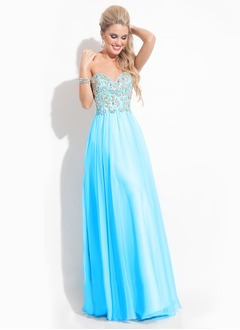 A-Line/Princess Strapless Sweetheart Floor-Length Chiffon Prom Dress With Beading (0185058952)
