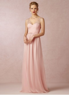 A-Line/Princess V-neck Floor-Length Chiffon Satin Bridesmaid Dress With Bow(s)