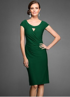 Sheath/Column Scoop Neck Knee-Length Jersey Mother of the Bride Dress With Ruffle Beading