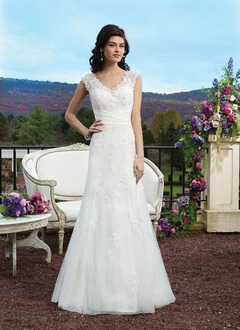 A-Line/Princess V-neck Sweep Train Satin Tulle Lace Wedding Dress With Beading Sequins