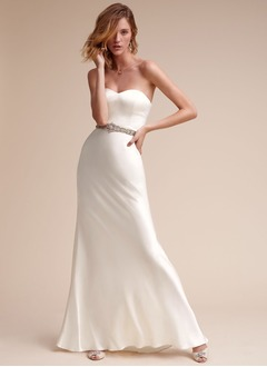 A-Line/Princess Sweetheart Floor-Length Satin Chiffon Wedding Dress With Beading