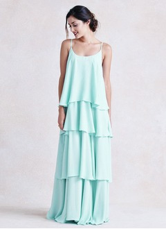 Empire Scoop Neck Floor-Length Chiffon Bridesmaid Dress With Cascading Ruffles