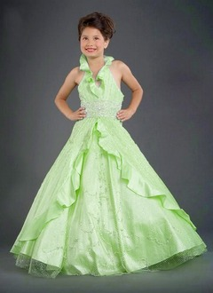 A-Line/Princess Halter Floor-Length Taffeta Tulle Flower Girl Dress With Lace Beading