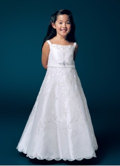 A-Line/Princess Strapless Floor-Length Organza Satin Flower Girl Dress With Embroidered Beading