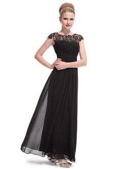 A-Line/Princess Scoop Neck Floor-Length Chiffon Evening Dress With Ruffle Lace Beading