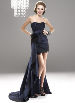 Sheath/Column Strapless Sweetheart Asymmetrical Taffeta Prom Dress With Lace Feather Cascading Ruffles