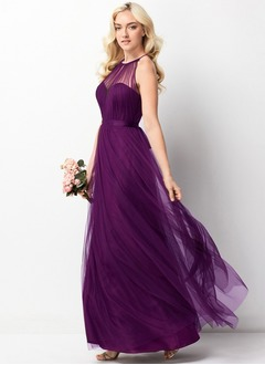 A-Line/Princess Halter Floor-Length Tulle Bridesmaid Dress With Ruffle