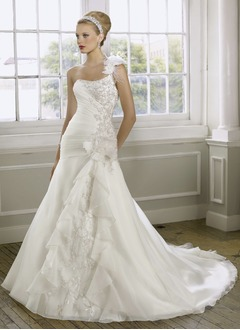 A-Line/Princess One-Shoulder Chapel Train Organza Satin Wedding Dress With Ruffle Beading