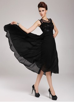 A-Line/Princess Scoop Neck Tea-Length Chiffon Evening Dress With Lace