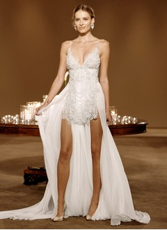 Sheath/Column V-neck Court Train Chiffon Wedding Dress With Beading
