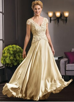 A-Line/Princess V-neck Floor-Length Satin Chiffon Mother of the Bride Dress With Appliques Lace