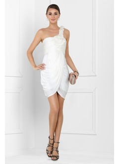 Sheath/Column One-Shoulder Short/Mini Chiffon Cocktail Dress With Ruffle Flower(s)