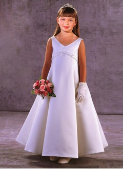 A-Line/Princess V-neck Floor-Length Satin Flower Girl Dress With Sash