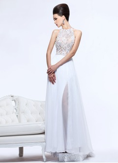 A-Line/Princess Halter Sweep Train Chiffon Evening Dress With Lace Beading
