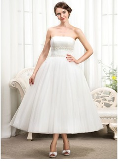 Ball-Gown Strapless Tea-Length Tulle Wedding Dress With Ruffle Beading
