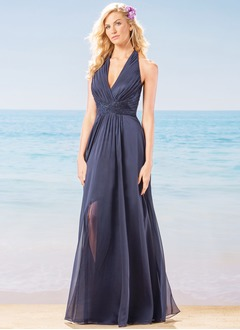 A-Line/Princess V-neck Floor-Length Chiffon Bridesmaid Dress With Ruffle Sequins Split Front