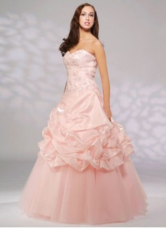Ball-Gown Strapless Sweetheart Floor-Length Taffeta Tulle Quinceanera Dress With Lace Beading