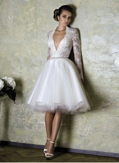 A-Line/Princess V-neck Knee-Length Tulle Charmeuse Lace Wedding Dress With Beading