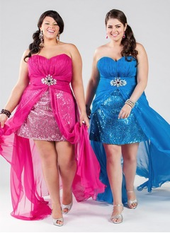 Sheath/Column Strapless Sweetheart Asymmetrical Chiffon Sequined Prom Dress With Beading