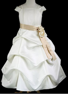 A-Line/Princess Off-the-Shoulder Floor-Length Satin Flower Girl Dress With Sash