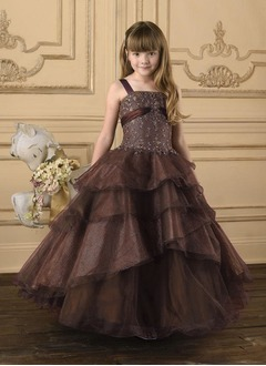 A-Line/Princess Strapless Floor-Length Satin Tulle Flower Girl Dress With Ruffle Sash