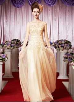 A-Line/Princess Scoop Neck Floor-Length Satin Tulle Evening Dress With Beading Appliques Lace