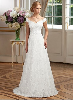 A-Line/Princess Sweetheart Off-the-Shoulder Sweep Train Lace Wedding Dress With Bow(s)