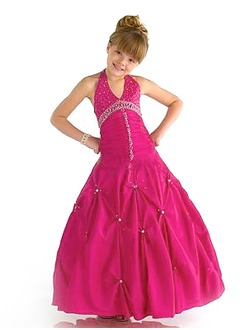A-Line/Princess Halter Floor-Length Taffeta Flower Girl Dress With Ruffle Beading