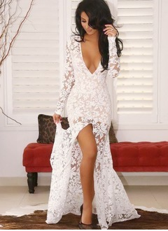 Sheath/Column V-neck Floor-Length Lace Prom Dress With Appliques Lace Split Front